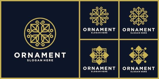 Projekt ikony logo ornament w kolorze złotym