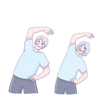 Projekt ilustracja ćwiczenia dziadków