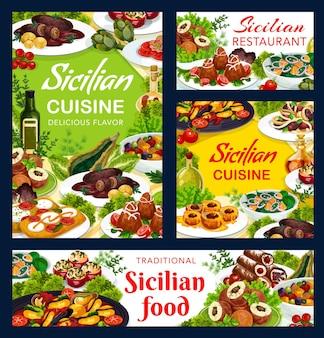 Projekt ilustracja jedzenie sycylijskiej restauracji
