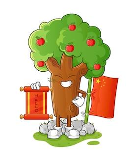Projekt ilustracja kreskówka chiński drzewo jabłko