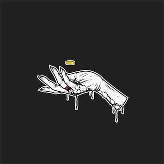 Projekt ilustracja krwawienie ręka
