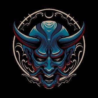 Projekt ilustracja niebieski japoński diabeł