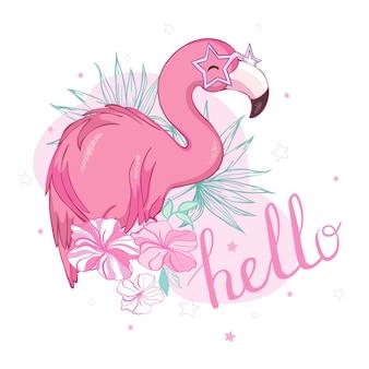 Projekt ilustracja ptak flamingo