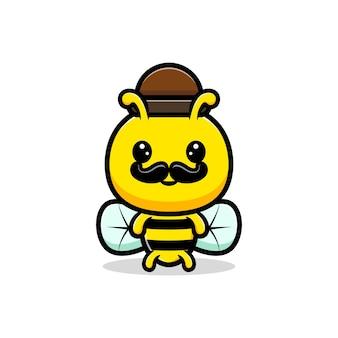 Projekt ilustracja śliczna dorosła pszczoła miodna