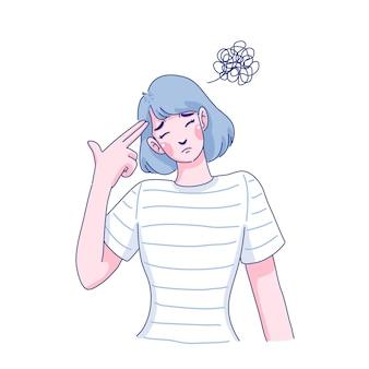 Projekt ilustracja smutna młoda kobieta