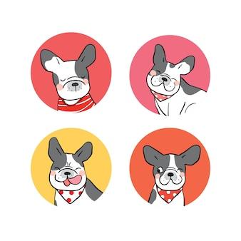 Projekt ilustracja zestaw logo buldoga francuskiego