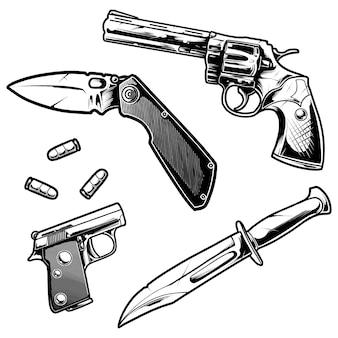 Projekt ilustracji broni pistoletu