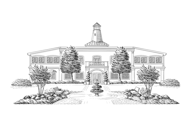 Projekt ilustracji budynku ręcznie rysowane