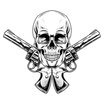 Projekt ilustracji czaszki i pistoletu