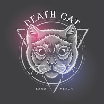 Projekt ilustracji death cat dla produktów zespołu
