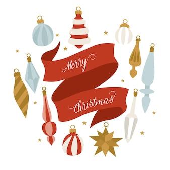 Projekt ilustracji dla karty świąteczne pozdrowienia. dekoracje bożonarodzeniowe.