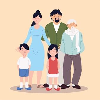 Projekt ilustracji dużej rodziny, rodziców, dziadka i dzieci
