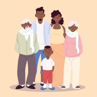 Projekt ilustracji dużej rodziny, rodziców, dziadków i chłopca