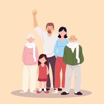 Projekt ilustracji dużej rodziny, rodziców, dziadków i córki