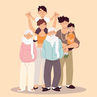 Projekt ilustracji dużej rodziny, rodziców, dziadków i dzieci