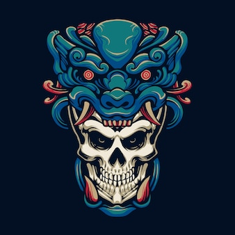 Projekt ilustracji głowy czaszki potwora