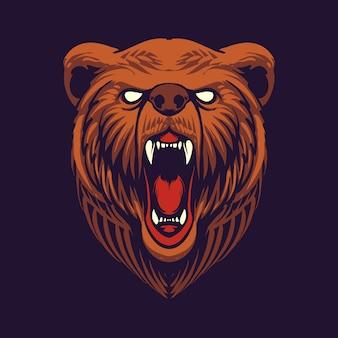 Projekt ilustracji głowy niedźwiedzia grizzly