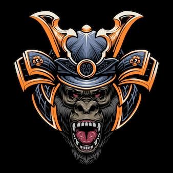 Projekt ilustracji głowy samuraja goryla