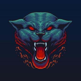 Projekt ilustracji głowy wilka