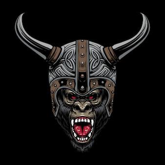 Projekt ilustracji hełmu goryla wikingów