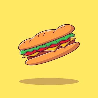 Projekt ilustracji kanapka z szynką serową. kanapka ikona koncepcja na białym tle.
