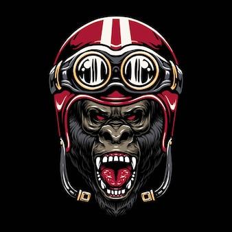 Projekt ilustracji kask motocyklowy goryl