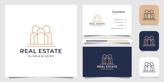 Projekt ilustracji logo nieruchomości w stylu sztuki linii. logo i wizytówka
