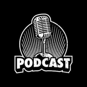 Projekt Ilustracji Logo Podcastu Premium Wektorów