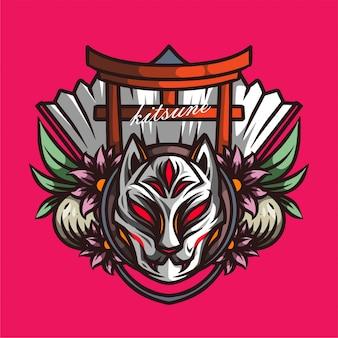 Projekt ilustracji maski kitsune szczegółowo