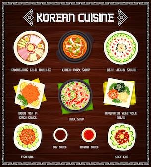 Projekt ilustracji menu kuchni koreańskiej