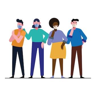 Projekt ilustracji międzyrasowych ludzi noszących maski medyczne