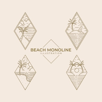 Projekt ilustracji monoline plaży