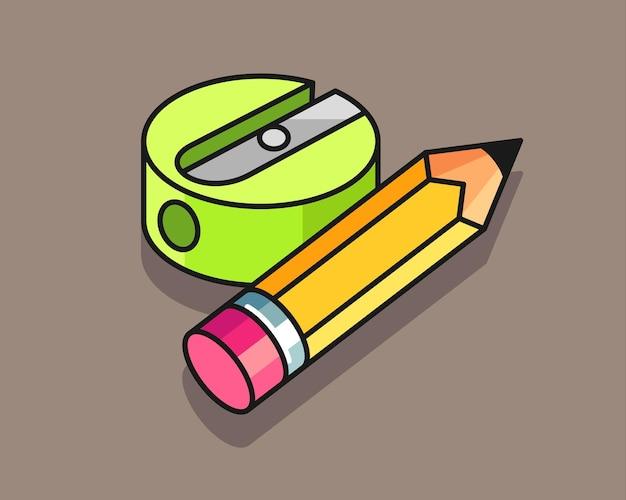 Projekt ilustracji ołówka i temperówki