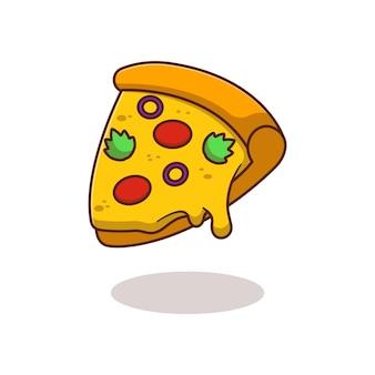 Projekt ilustracji plasterka pizzy z roztopionym serem i bardzo smacznym izolowanym projektem żywności