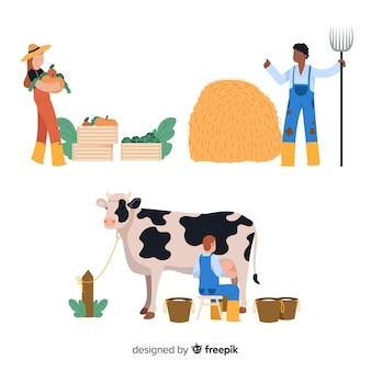 Projekt ilustracji postaci robotników rolnych