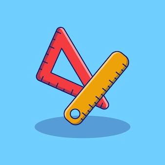 Projekt ilustracji prostej i kwadratowej linijki