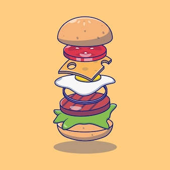Projekt ilustracji pysznego burgera fast food