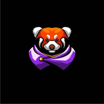 Projekt ilustracji red panda warrior, logo esport.