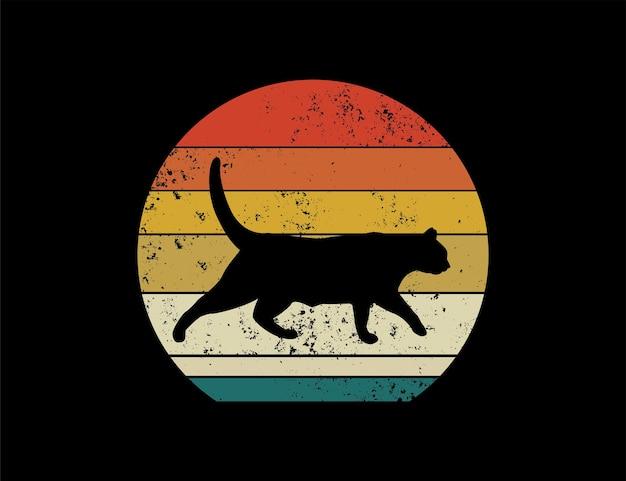 Projekt ilustracji retro czarny kot sylwetka