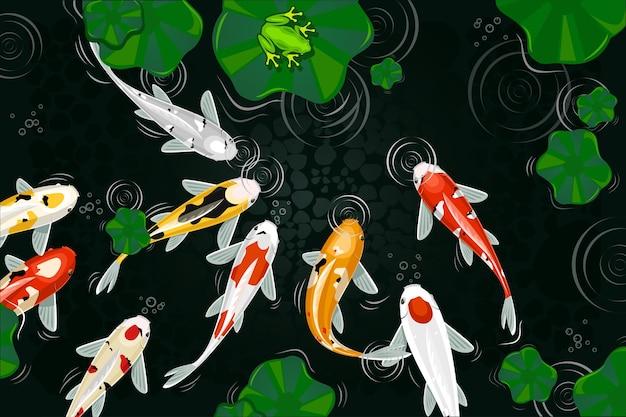 Projekt ilustracji ryb koi