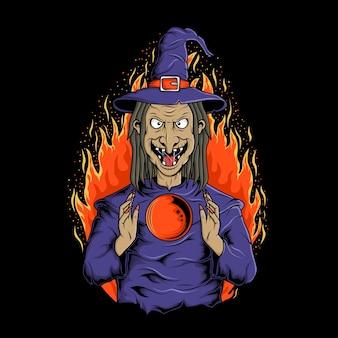 Projekt ilustracji rytuału czarownic