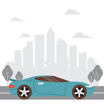 Projekt ilustracji samochodu z tłem miasta