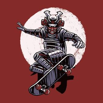 Projekt ilustracji samuraj na deskorolce