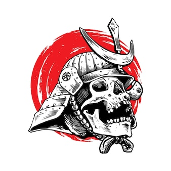Projekt ilustracji samuraja z twarzą czaszki