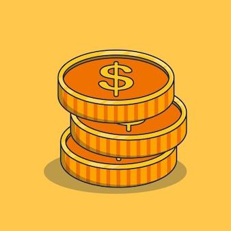 Projekt ilustracji stosu złotych monet