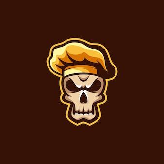 Projekt ilustracji szefa kuchni czaszki.