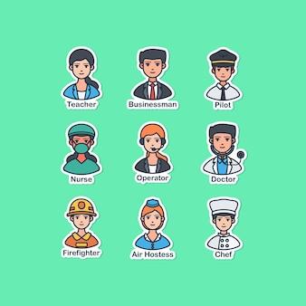Projekt ilustracji wektorowych naklejki ludzie i zawód