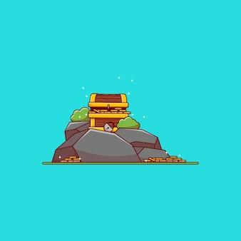 Projekt ilustracji wektorowych skrzyni skarbów na skalistej wyspie