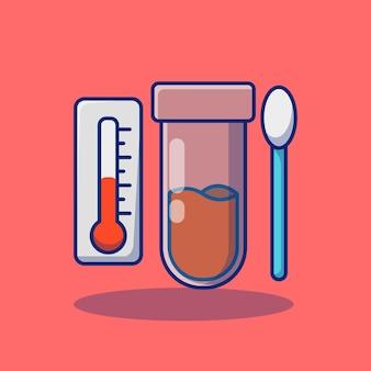 Projekt ilustracji wektorowych termometru do butelek z odczynnikami i koncepcja premium wacików