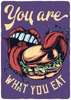 Projekt ilustracji z dużymi ustami, jedząc duży burger